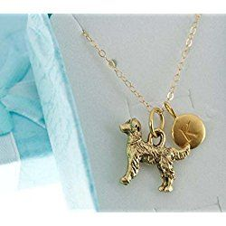 Golden Retriever Charm Necklace Pendant In Antique Gold Plated