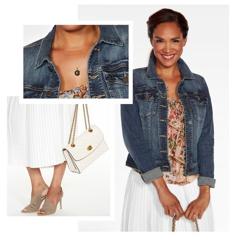 a09f7ddd5d6f09 Denim Jacket with Printed Shirt and White Skirt