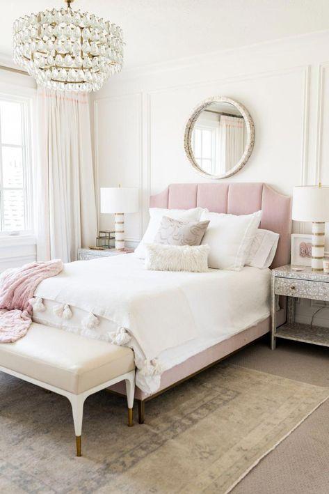 Blush White Girl S Bedroom Upholstered Blush Headboard Gold And White Lamps Round Mirror Ivory Lane B Bedroom Decor Home Decor Bedroom Feminine Bedroom