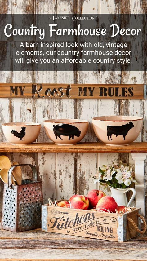 Our popular farmhouse decor style layers traditional country appeal and a predominantly rustic feel with down-home barnyard accents, repurposed materials, farm fresh inspiration and farm animal themes. #farmhouse #farmhousedecor #countrystyle