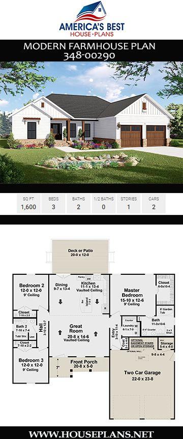House Plan 348 00290 Modern Farmhouse Plan 1 600 Square Feet 3 Bedrooms 2 Bathrooms Modern Farmhouse Plans House Plans Farmhouse Farmhouse Style House