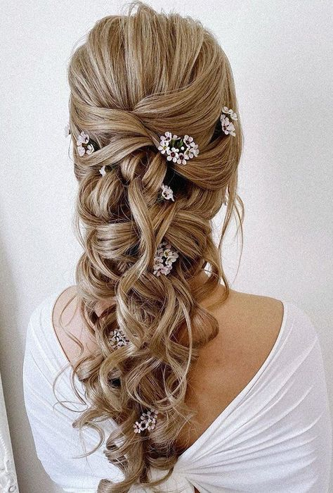 39 Greek Wedding Hairstyles For The Divine Brides ❤ greek wedding hairstyles classy hair curly blonde down with small flowers pearly.hairstylist #weddingforward #wedding #bride #weddinghairstyles #greekweddinghairstyles