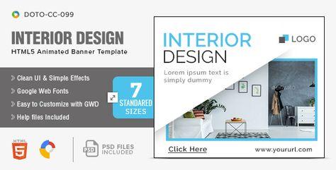 Interior Design HTML5 Banners – 7 Sizes | Codelib App