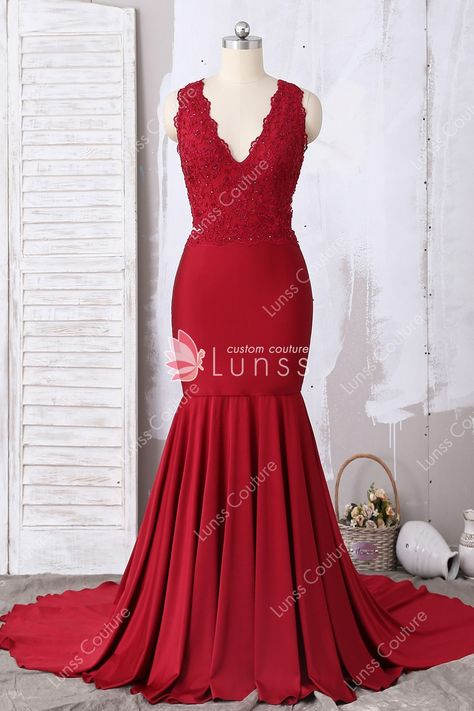 d6aef873ad7 Unique Sparkly Sleeveless V-neck Cutout High Slits Red Sequin A-line ...