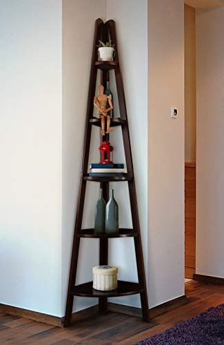 Artonell Corner Shelf Display Rack With 5 Tiers Furniture Wood Ladder Bookshelf Stand Wooden Organizer For Home Office Shelving Furniture Bookshelves Shelves