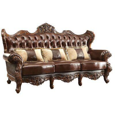Astoria Grand Durden Leather Sofa Love Seat Tufted Loveseat Leather Sofa