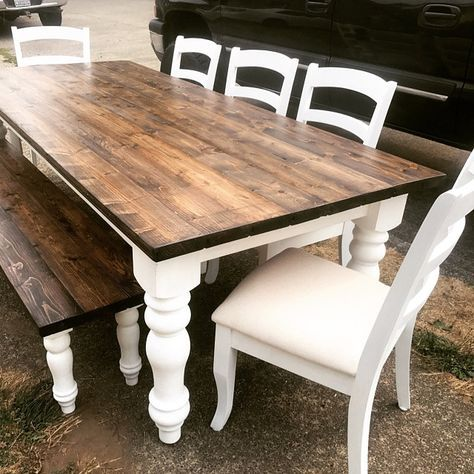 Diy Farmhouse Table Made For 250 Using Chunky Farmhouse Legs Purchased From Etsy Farmhouse Kitchen Tables Farmhouse Dining Room Table Diy Farmhouse Table