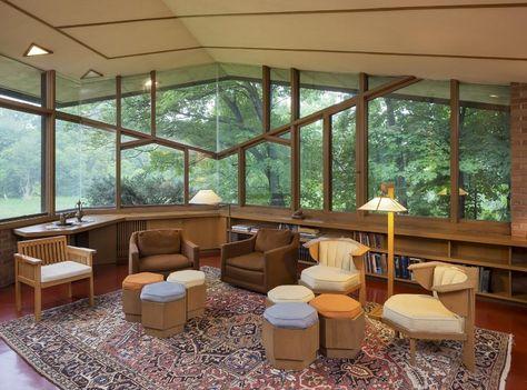 Den, Home designed by Frank Lloyd Wright, 2206 Parklands Lane, Saint Louis Park, Minnesota, USA, built 1960