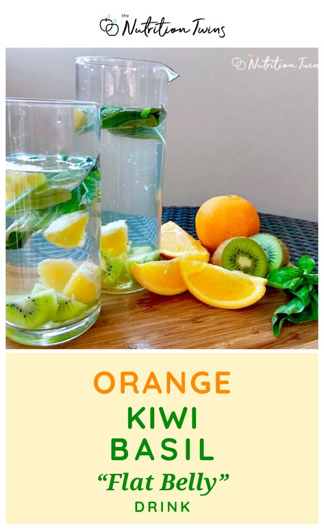 Easy Orange Kiwi Basil Flat Belly Drink Recipe. Flush bloating fast with this detox drink that floods the body with water and potassium. Get a flat stomach and lose weight when you replace sugary drinks. Great for a flat belly work out plan  a weight loss diet plan. #flatbelly #detox #drinks #recipes For MORE RECIPES, fitness  nutrition tips please SIGN UP for our FREE NEWSLETTER www.NutritionTwins.com
