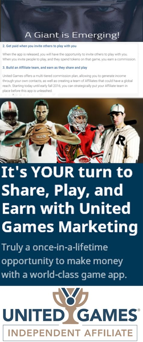 it's your turn to play share and earn with united games marketing!