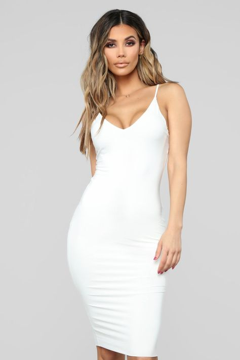 3c2adb693f Hug Your FN Body Midi Dress - White