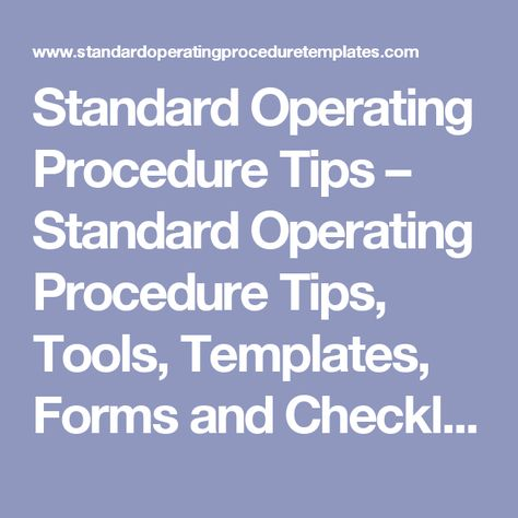 Best Standard Operating Procedure Sop Templates  The Office