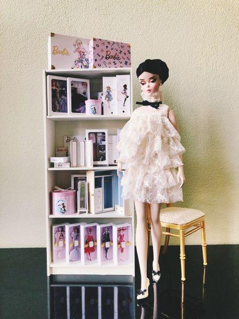 1:6 Scale Mid Century Style Chair Grey Tweed  Barbie//Fashion Royalty Displays