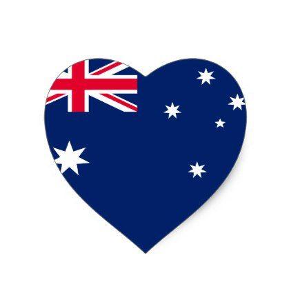 Australia Flag Heart Sticker Zazzle Com Heart Stickers Australia Flag Print Stickers