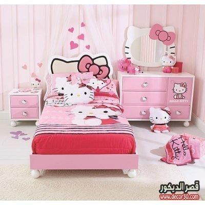 غرف نوم هيلو كيتى بناتي احدث غرف بينك للبنات قصر الديكور Hello Kitty Bedroom Set Hello Kitty Bedroom Decor Hello Kitty Rooms