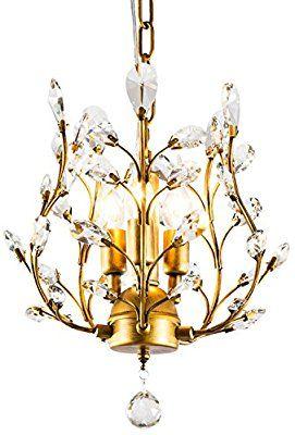 Garwarm 3 Light Crystal Chandeliers Ceiling Lights Crystal