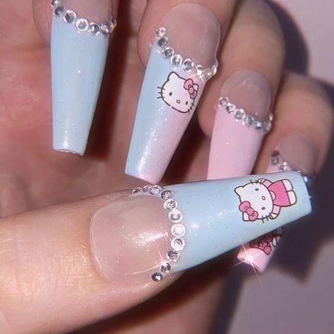 Burgundy Acrylic Nails, Acrylic Nails Coffin Pink, Acrylic Nail Designs Coffin, Pastel Nails, Really Cute Nails, Bratz, Hello Kitty Nails, Fire Nails, Cat Nails