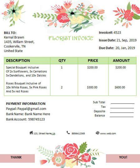 Florist Invoice Editable Invoice Template Florist Flower Business