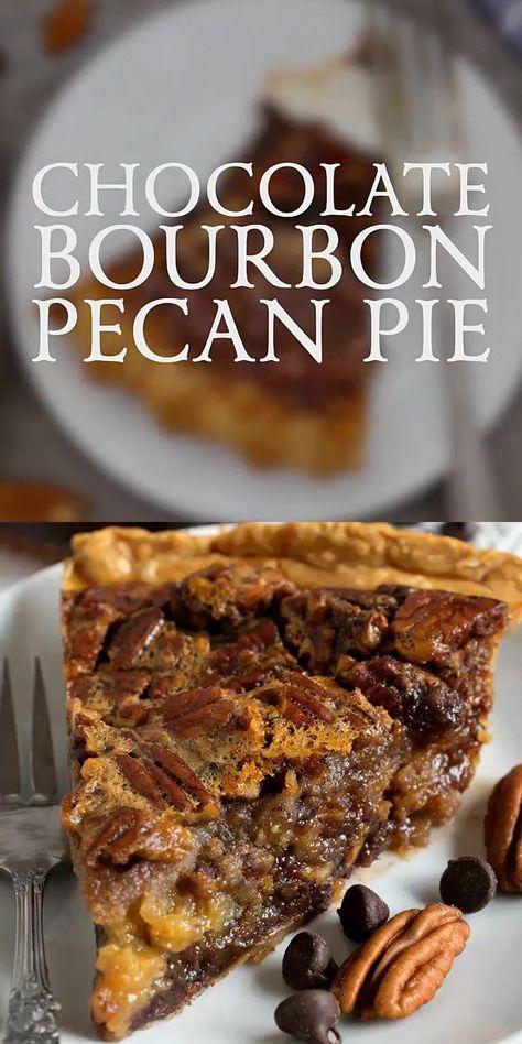 Dessert Dips, Köstliche Desserts, Pie Dessert, Delicious Desserts, Yummy Food, Chocolate Bourbon Pecan Pie, Burbon Pecan Pie, German Chocolate Pies, Chocolate Recipes