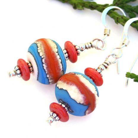 Orange Lampwork Glass Bead Set with Tropical Flowers Green Black Red Beads