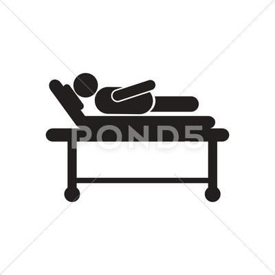 Stylish Black And White Icon Patient In Hospital Bed Stock Illustration Ad White Icon Stylish Black Black And White Hospital Bed Icon