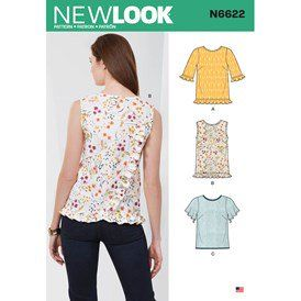 Various White New Look Sewing Pattern N6625A Misses Tops and Pull On Pants Paper