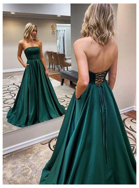 Dark Green Prom Dresses, Pretty Prom Dresses, Backless Prom Dresses, A Line Prom Dresses, Formal Evening Dresses, Ball Dresses, Strapless Dress Formal, Emerald Green Formal Dress, Emerald Green Dress Prom