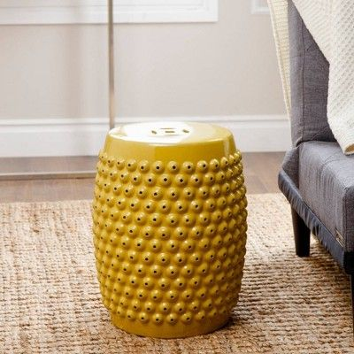 Cool Sophia Yellow Pierced Ceramic Garden Stool Abbyson Living Lamtechconsult Wood Chair Design Ideas Lamtechconsultcom