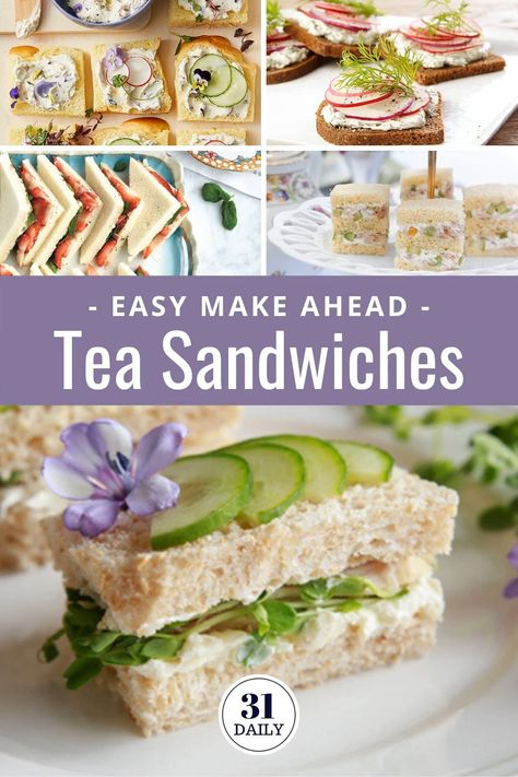 Easy Make Ahead Afternoon Tea Sandwiches plus pro tips, afternoon tea sandwich fillings, recipes, presentation ideas and more. Everything you need to know to make tea sandwiches for your next afternoon tea. Tea Party Sandwiches Recipes, High Tea Sandwiches, Appetizer Sandwiches, Mini Appetizers, Picky Toddler Meals, Toddler Dinners, Toddler Lunches, Sandwich Fillings, Sandwich Cake