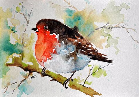 Original Watercolor Painting Colorful Robin Bird On A Branch 6x8