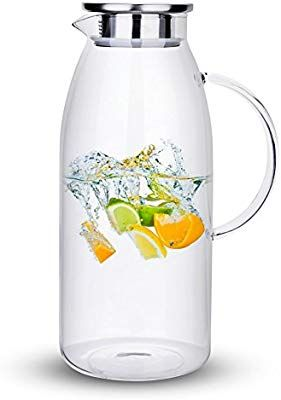 Amazon Com Purefold 100 Ounces Large Glass Pitcher With Lid Hot Cold Water Pitcher With Handle Juice And Iced Tea Bever Drinking Tea Water Carafe Juice Jar
