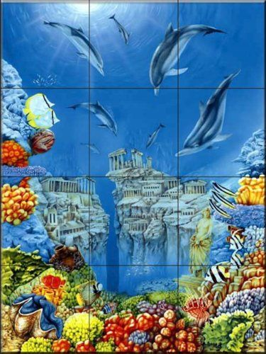 Ceramic Tile Mural Dolphin Atlantis By Paul Westrup Kitchen Backsplash Bathroom Shower See This Gr Tile Murals Bathroom Tile Mural Mosaic Tile Designs