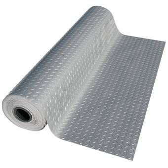 Metallic Diamond Plate 4 Ft X 20 Ft Garage Flooring Roll In Silver Pvc Flooring Garage Floor Rubber Flooring