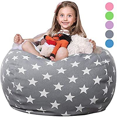 Amazon Com Wekapo Stuffed Animal Storage Bean Bag Chair Cover For Kids Stuffable Zipper Beanbag For Organizing Children Plush Toy Bean Bag Chair Stuffed Animal Storage Chair