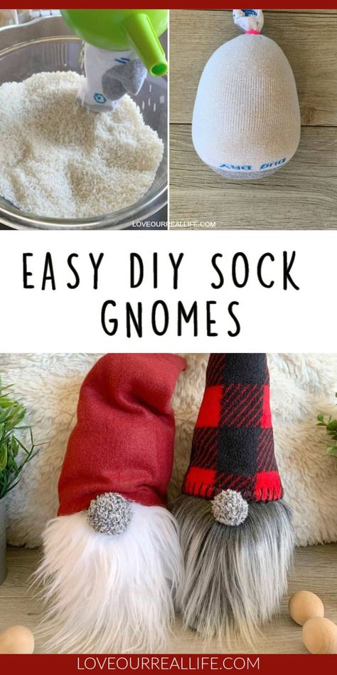 Learn to how make your own DIY Christmas gnomes. Tutorial for no sew sock version as well as DIY gnomes using simple sewing. Christmas Gnome, Christmas Projects, Holiday Crafts, Holiday Fun, Diy Christmas Decorations, Christmas Sock, Cute Christmas Diy Gifts, Chritmas Diy, Simple Christmas Crafts