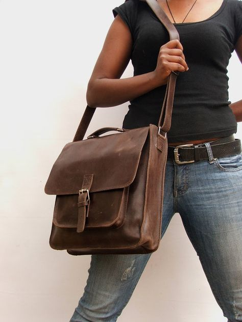 Leather Bag Messenger Computer Brown School