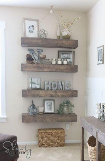 Best Farmhouse Living Room Mantle Shelves 23 Ideas Diy Living Room Decor Home Decor Floating Shelves Diy