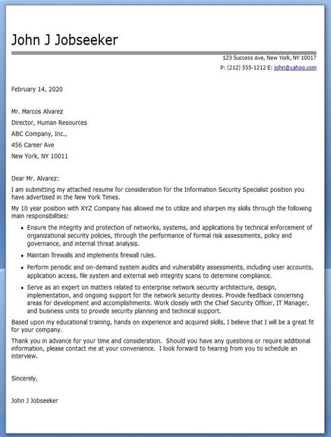 Information Security Specialist Cover Letter Job Cover Letter