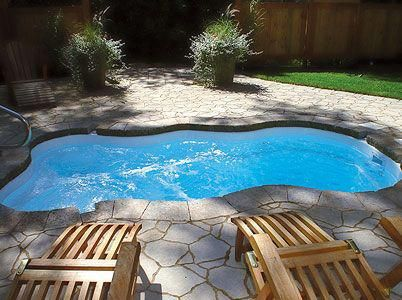 This Is The Small Pool We Want For Our Back Yard With Swim Jets Sadly I Can Only Find It In Canad Small Pool Design Small Backyard Design Small Swimming Pools