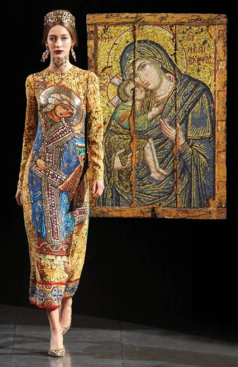 Dolce & Gabbana autumn/winter collection depicts a modern edition of Byzantine fashion next to the religious paintings that inspired it.