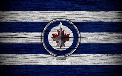 Winnipeg Jets 4k Nhl Hockey Club Western Conference Usa Logo Wooden Texture Hockey Central Division Winnipeg Jets Jets Hockey Sports Wallpapers