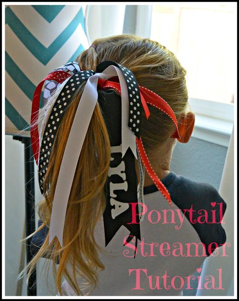 Ponytail Streamer Tutorial.  So easy to make!   Plus you can customize it to your kids team mascot, colors, and name.  No sew.  Tips on how to seal the ends of the ribbon to keep from fraying.  #soccermom