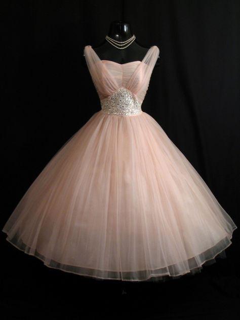 Vintage 1950's Pink Beaded Ruched Chiffon Circle Skirt Dress. {Repin}