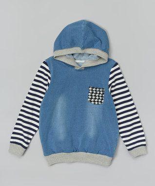 Blue & Black Stripe Hoodie - Infant, Toddler & Kids