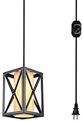 Hmvpl Plug In Industrial Pendant Light With Linen Lamp Shade 15 Ft Hanging Cord And Dimmable On Off Sw Lamp Linen Lamp Shades Pendant Light Fixtures
