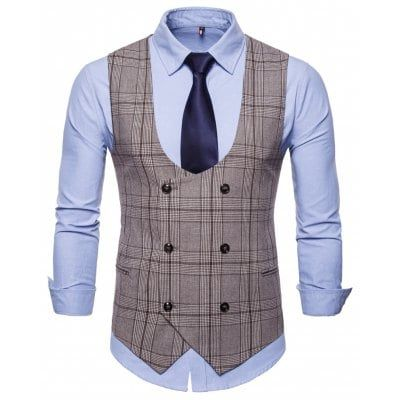 New Fashion Mens Vest Double Breasted Solids Waistcoats Multicolor Vests Tops