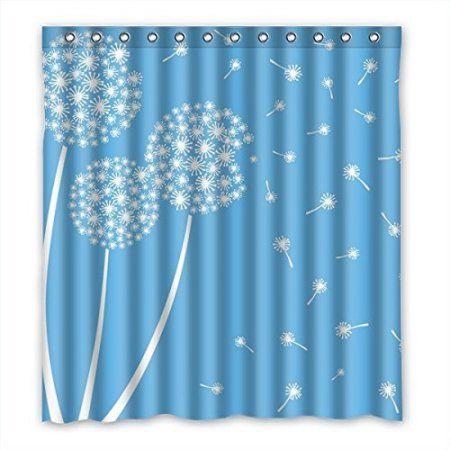 Greendecor Dandelion Waterproof Shower Curtain Set With Hooks