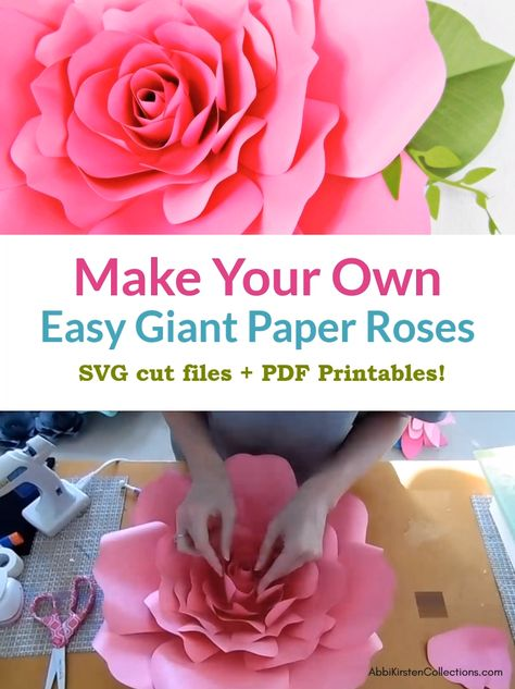How to make your own large paper roses. These rose templates are perfect for paper flower wall decor for a nursery, wedding backdrop or baby shower decor. Download the SVG cut files and PDF printables here.