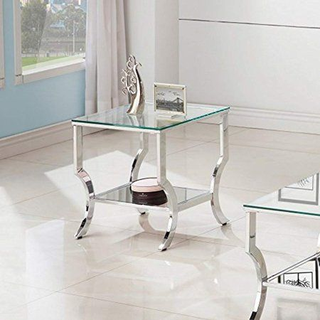 Coaster 720337 Co 1 Shelf Glass Top End Table Chrome Walmart Com Glass Top End Tables Coaster Furniture Glass End Tables