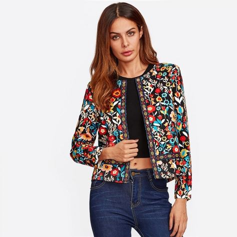Cheap autumn jacket for women, Buy Quality jackets for women directly from China elegant jacket Suppliers: SHEIN Press Button Placket Botanical Jacket Autumn Jacket for Women Multicolor Collarless Single Breasted Elegant Jacket